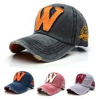 New Arrival Unisex Casual Adjustable Embroidered Letter Washed Denim Baseball Cap