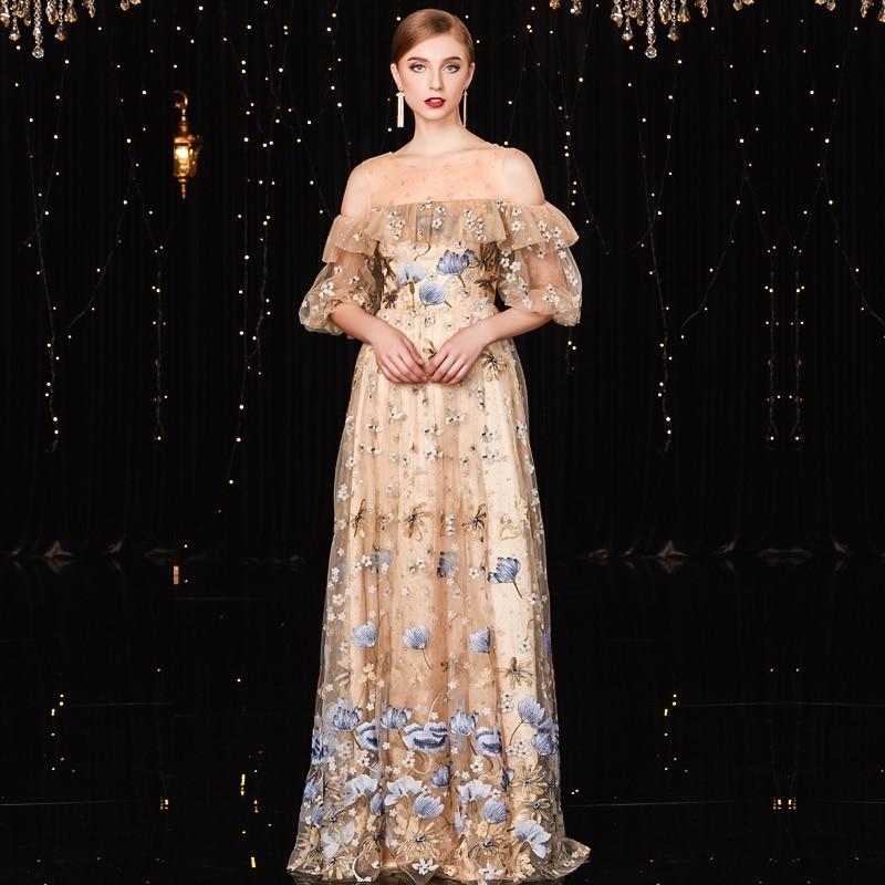 JANCEMBER Cocktail Dresses Scoop A-Line Off The Shoulder Half Sleeve Floor-Length Illusion Appliques Cocktail Gowns