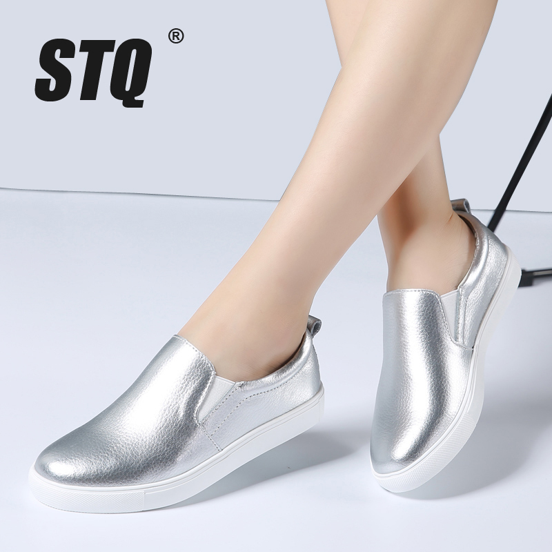 STQ 2018 Autumn Women Leather Loafers Fashion ballet flats sliver white black Shoes Woman Slip On loafers boat shoes Moccasins