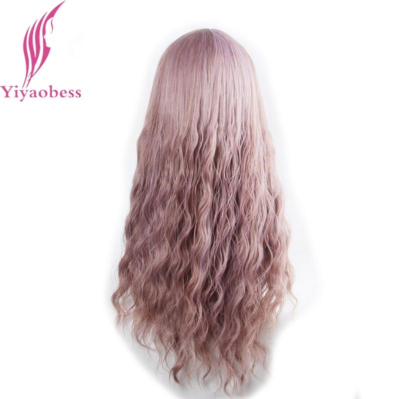 Yiyaobess 65cm långa wavy peruker med bangs värmebeständig - Syntetiskt hår - Foto 6