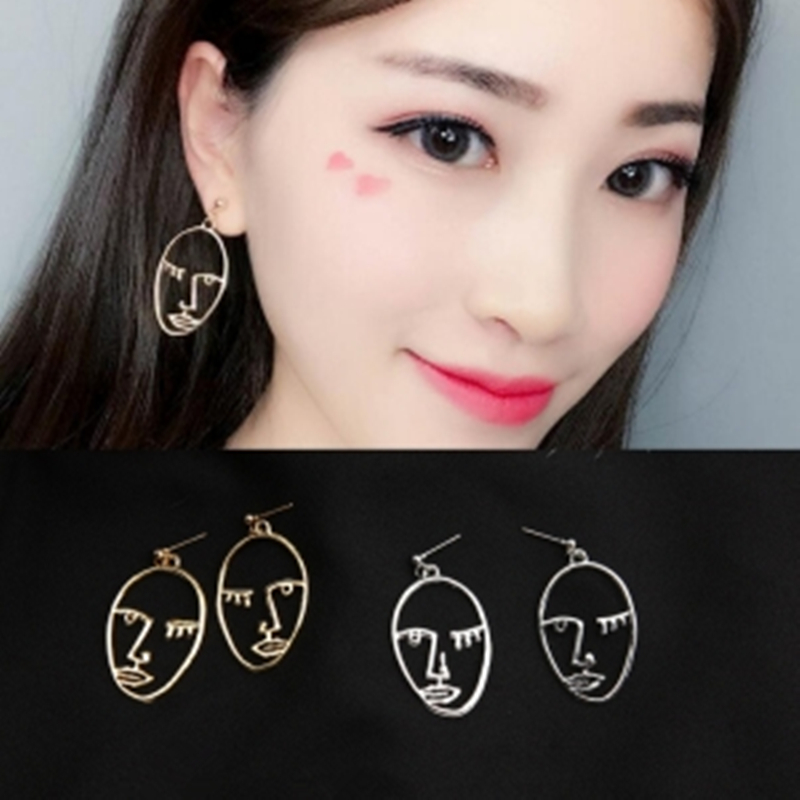 E0431 Hot Sale Abstract Art Drop Earrings Gold Color Face Statement Dangle Earrings For Women Girls Fashion Trend Tassel Earring