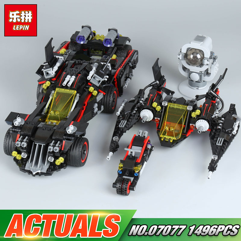 Lepin 07077 1496Pcs Genuine Batman Movie Series The Ultimate Batmobile Set Educational Building Blocks Bricks Toys Model 70917 1496pcs new super heroes batman the ultimate batmobile set 07077 diy model building blocks toys brick moive compatible with lego