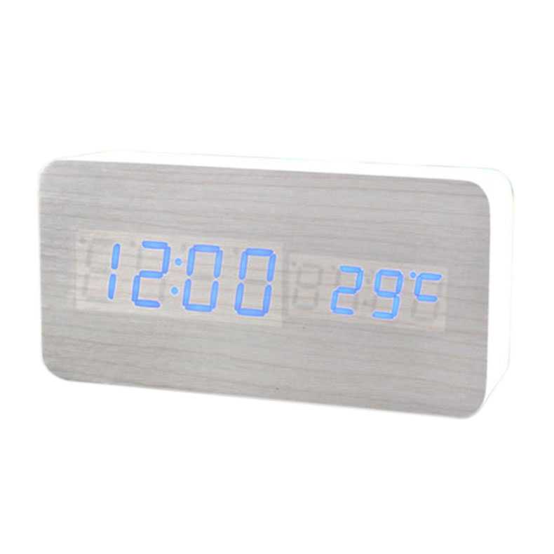 Voice Control Calendar Thermometer Rectangle Wood Wooden LED Digital Alarm Clock USB/AAA White Wood Blue LED