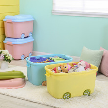 Купить с кэшбэком Everyfit Multifunction Pulley Organizer Boxes Colorful Car Shape Storage boxes For Baby Toys clothes Cabinet With Sealed Cover