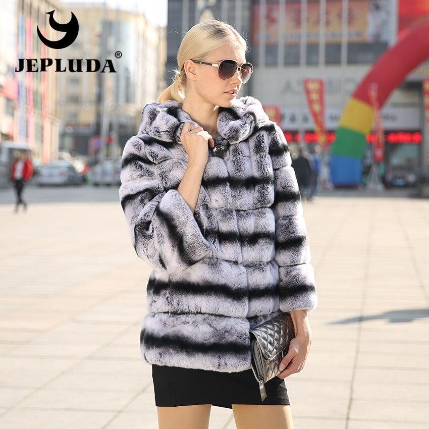 JEPLUDA зимная щуба женщины из натурального меха кролика теплые зимние женщин пальто из меха шиншилла полу щуба с капюшоно из настоящее меха кр...