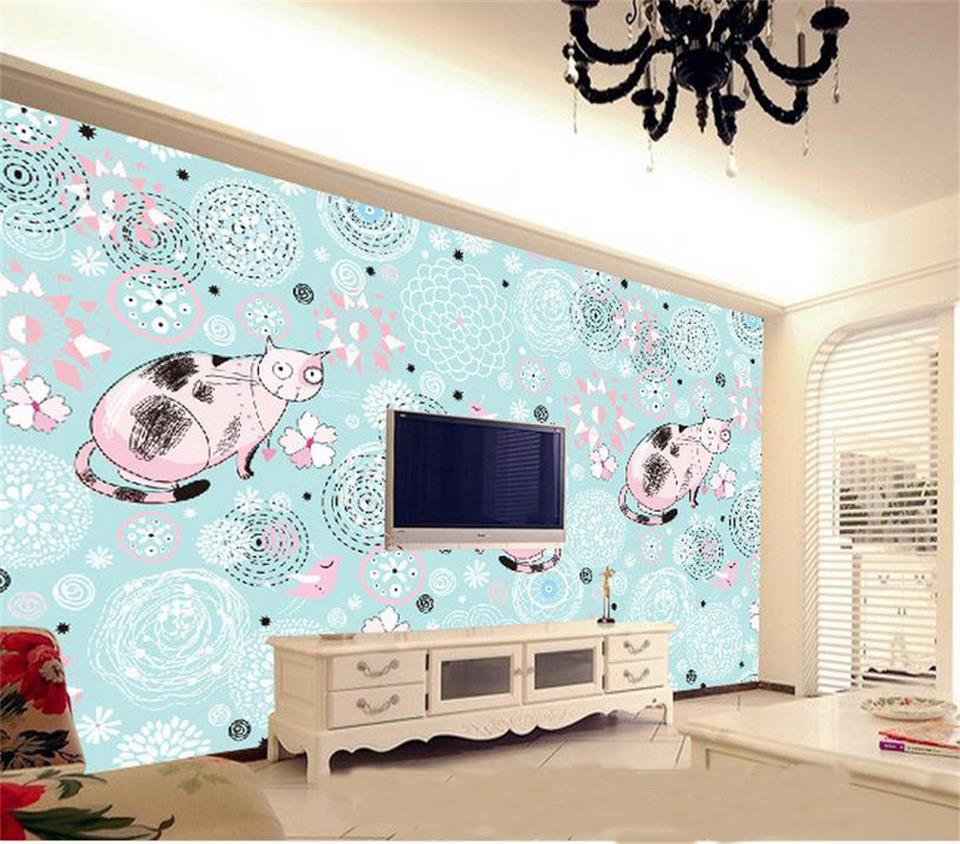 custom 3d photo wallpaper mural KT cat European style painting TV background wall large wallpaper Livingroom non-woven mural free shipping european corridor wall painting background wallpaper hawaii non woven wallpaper mural
