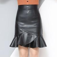 Woman's High Waist Faux Leather Short Mermaid Skirts Female Black Pencil Fishtail Skirt Plus Size S 3XL