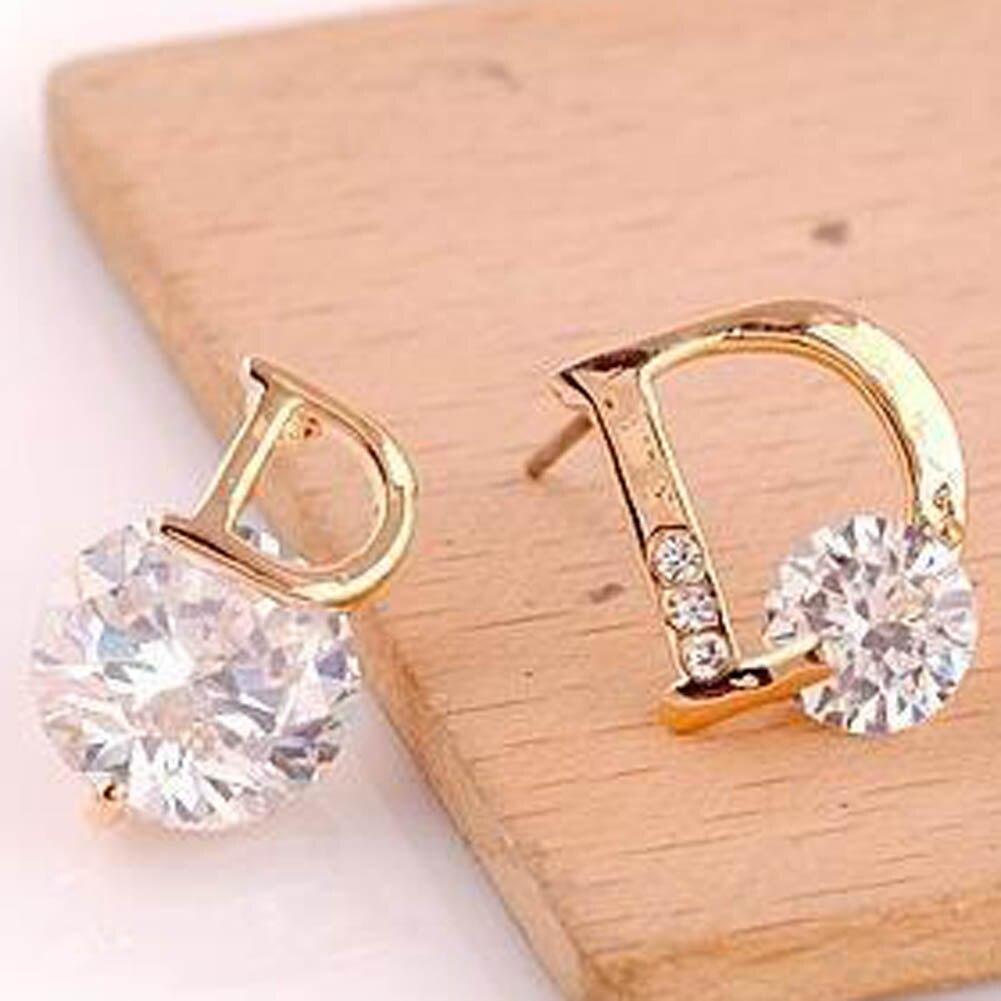 New Arrival Fine Classic Women Metal Geometric Stud Earring Asymmetry D Word Earring For Lady Crystal Jewelry
