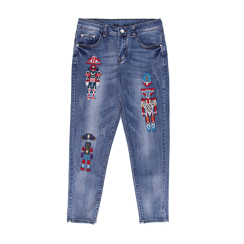 Women Robot Embroidery Harem Jeans 2017 Summer New Female Ankle-Length Denim Pencil Pants Slim Trousers Plus Size 26-32 L679 rosicil new women jeans low waist stretch ankle length slim pencil pants fashion female jeans plus size jeans femme 2017 tsl049