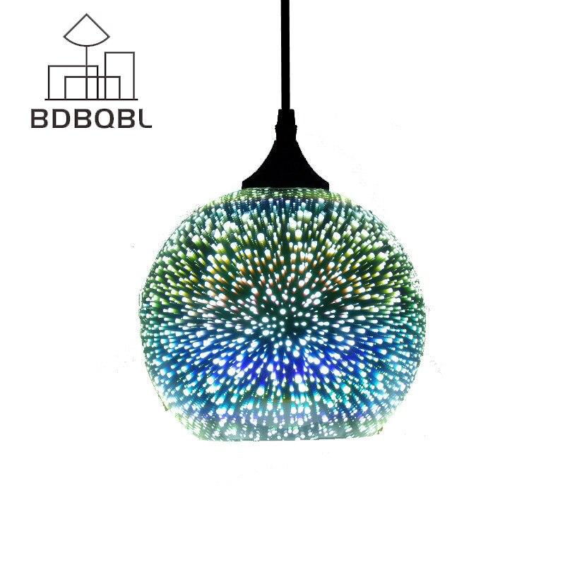 BDBQBL Classic Design LED Lamp Pendant Light Diameter 15CM/20CM 3D Colorful Plated Glass Mirror Ball Hanging Light Fixture