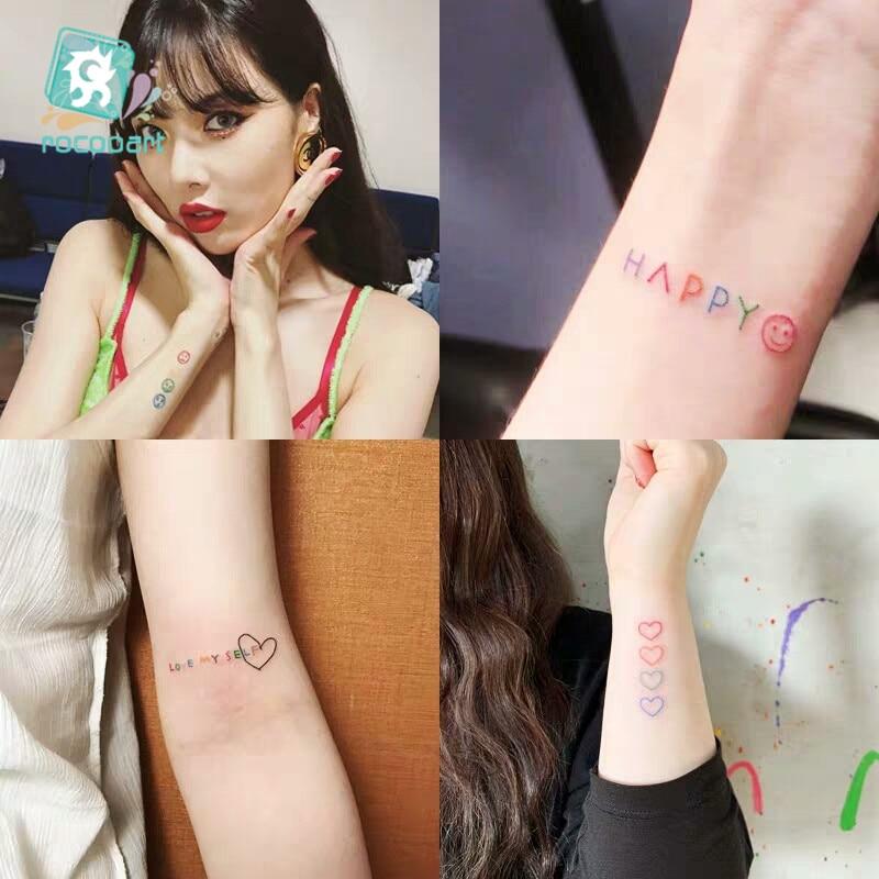 HyunA Ins Series Colorful Rainbow Expression Tattoo Sticker Face Hand Lovely Body Art Fake Tatoo Temporary Waterproof Taty