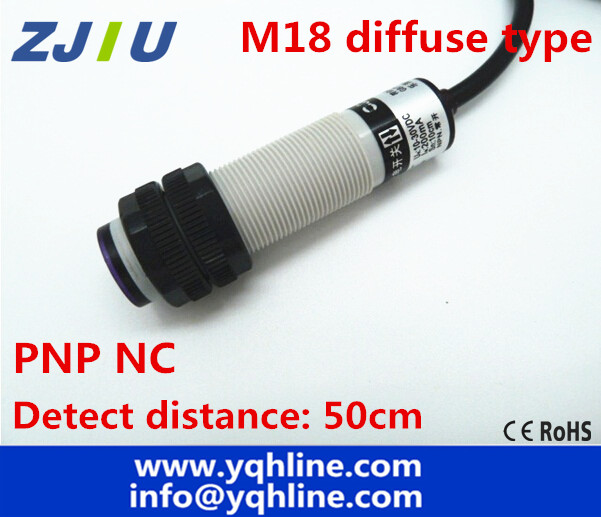 M18 diffuse type PNP NC DC 3 wires photoelectric sensor detection ...