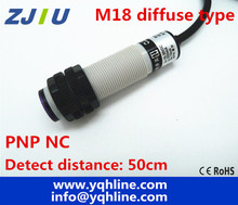M18 Diffuse Type PNP NC DC 3 Wires Photoelectric Sensor Detection Distance  50cm Adjustable Photocell Switch