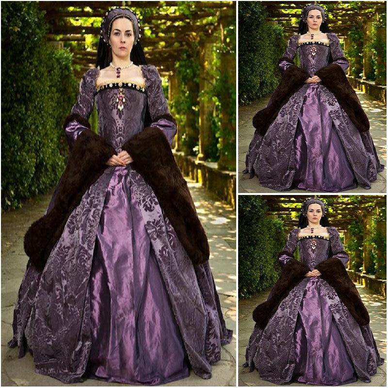История! заказное роскошное фиолетовое винтажное платье в стиле ренессанс, платье в стиле стимпанк, готическое платье для костюмированной