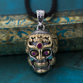 2016 Thai Buddha skull inlaid zircon pendant 100% Real 925 Sterling Silver pendant Men or Women vintage fine jewelry Hot Sale