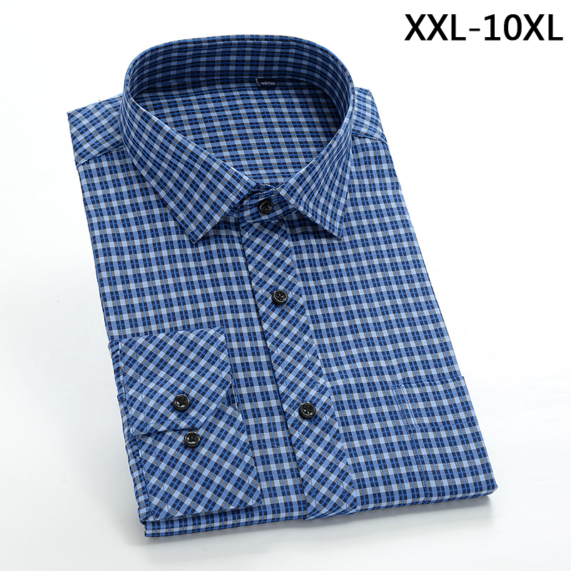 2017 New Comming Mens Long Sleeve Cotton Shirts Formal Dress Shirts Very Big Large Plus Size Xxl-4xl 5xl 6xl 7xl 8xl 9xl 10xl Latest Fashion