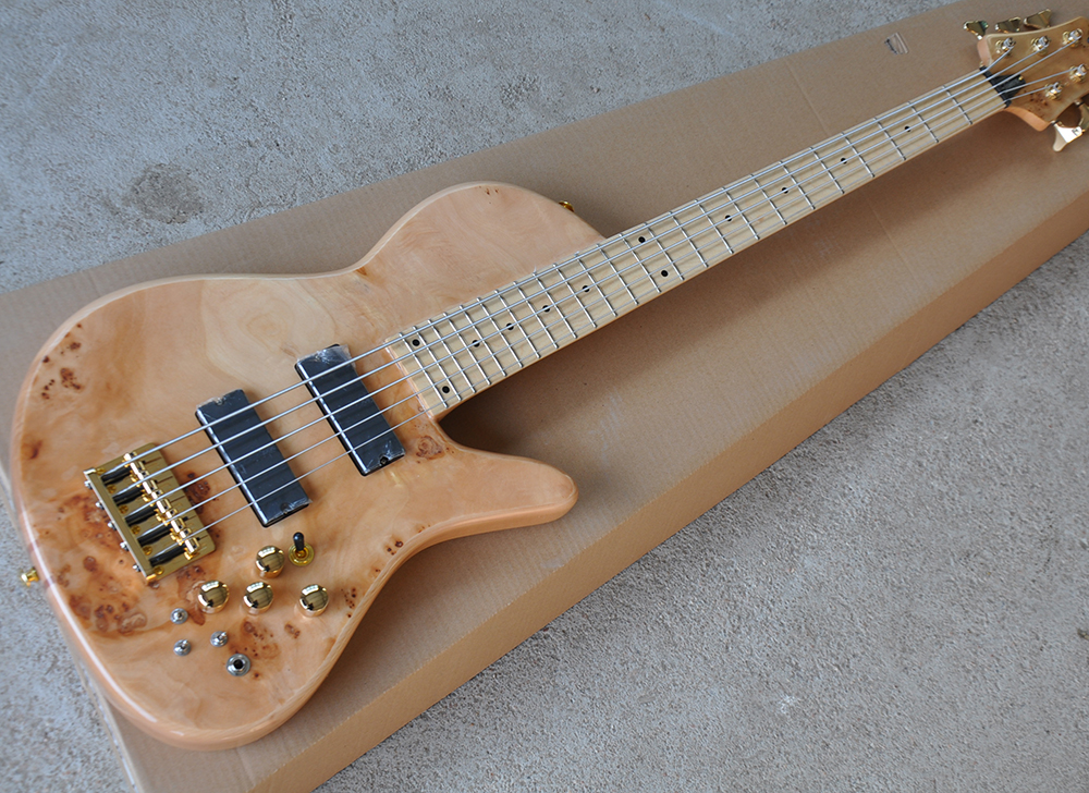 wholesale 5 strings ash electric bass guitar with maple fretboard neck thru body tree burl. Black Bedroom Furniture Sets. Home Design Ideas