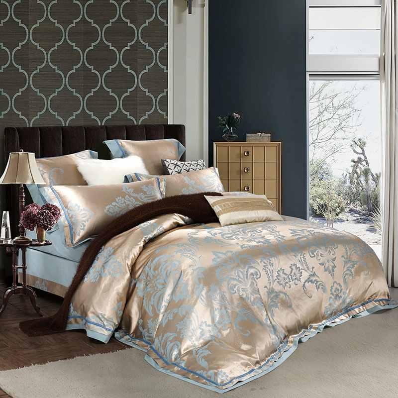 46pcs WhiteBuleGold Jacquard Satin Duvetquilt Cover Set SilkCotton Bedclothes Bedding Set