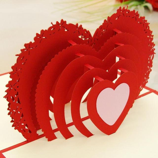 friends birthday celebration card 3d heart shaped folding happy