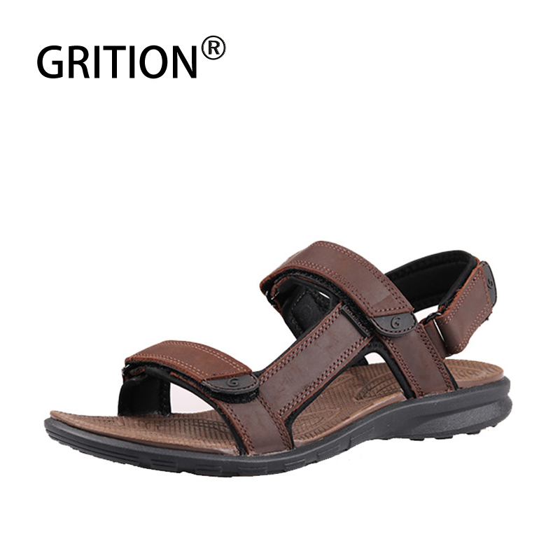 GRITION Men Genuine Leather Sandals Summer Outdoor Beach Shoes Breathable Walking Open Toe Comfort Lightweight European Sandals