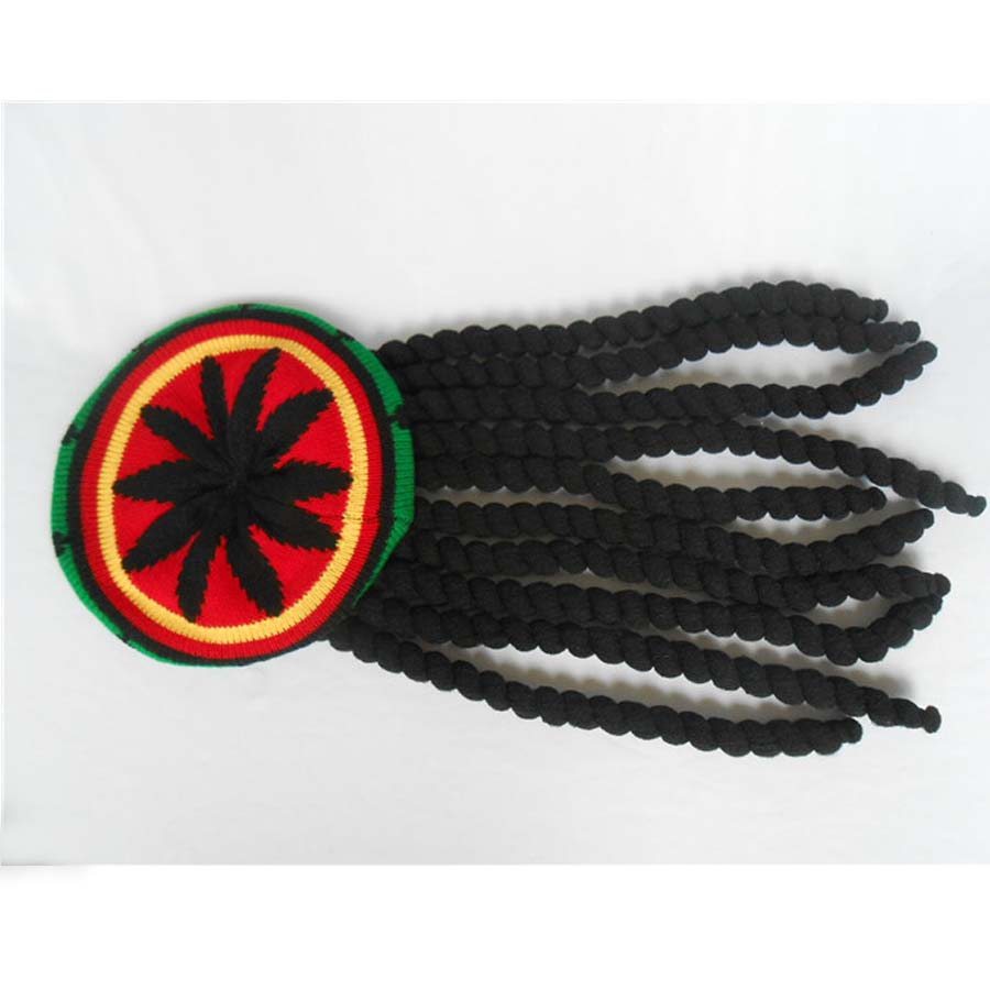 Fancy Dress Rastafarian Rasta Knitted Crochet Jamaica Hat