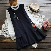 2017 Spring Women Japanese Style Fashion Brand Embroidery Swan Pattern Hem Fake Two Pieces Long Sleeve