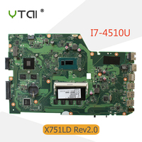 YTAI I7 4510U 4G RAM For ASUS X751LD X751L K751L K751LN Motherboard GeForce 840M With I7