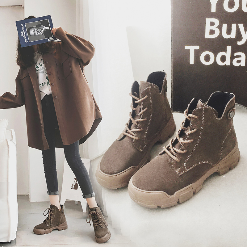 Bean bean warm noir Hiver Nouveau brown Sand Moto Cuir formes Lacent Chaussures warm Paste Femme Mycolen brown Plates black Femmes Bottes Botas Feminina En Martens winter Velvet Automne winter anpCUwRq