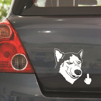 Funny Cool Serious Husky Dog Flipping Finger Car Truck SUV Laptop Sticker Decal car sticker 4