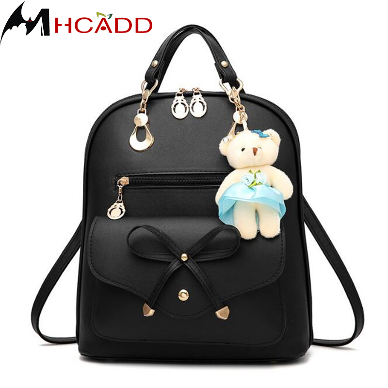 COOL WALKER arrivée mode ours pendentif filles sac d'école en cuir femmes sac à dos zipper sacs d'école pour adolescents filles sac à dos
