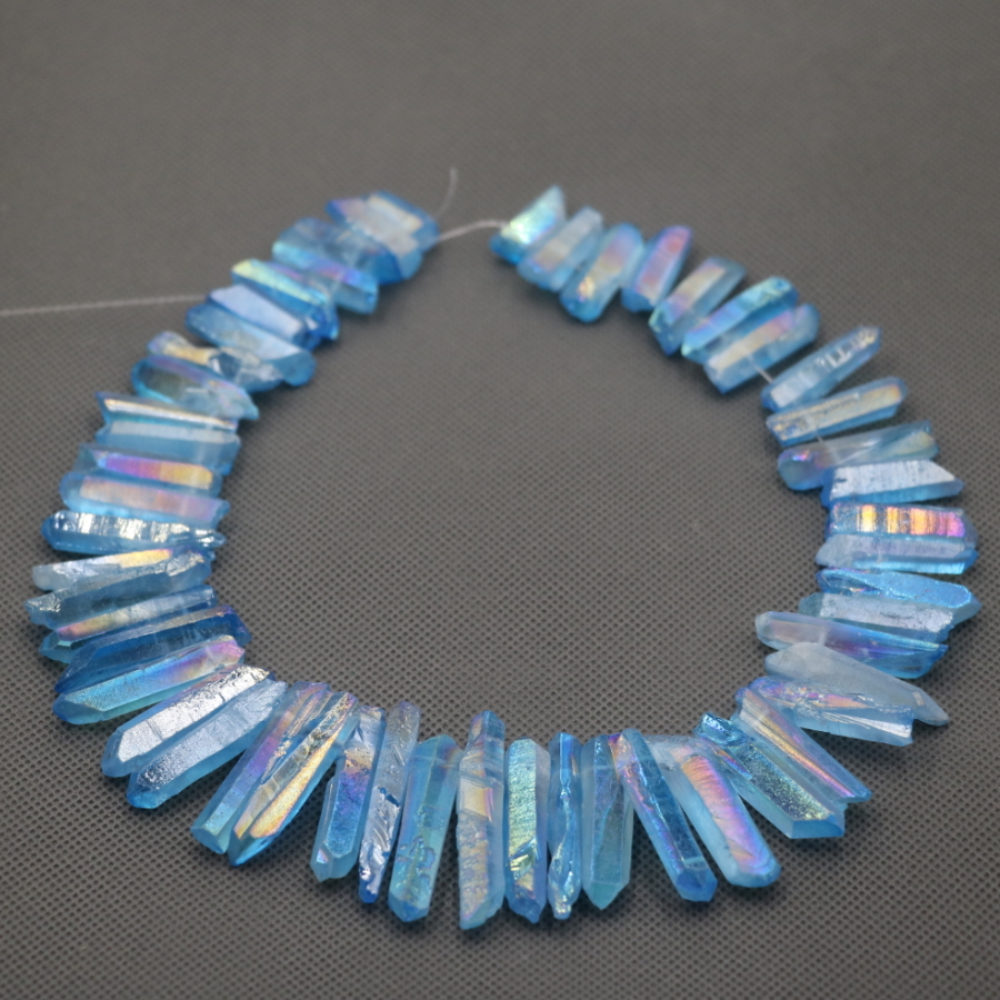 Approx 54pcs/strand Natural Raw Blue AB Quartz Crystal Point Pendant Rough Top Drilled Spike Gem Beads Crystal Women Necklace(China)
