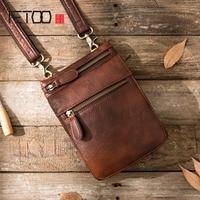 AETOO New Mobile Phone Pockets Male Handmade Leather Messenger Mini Casual Bag Retro Men Shoulder Diagonal