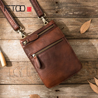 AETOO New mobile phone pockets male handmade leather Messenger mini casual bag retro men shoulder diagonal package