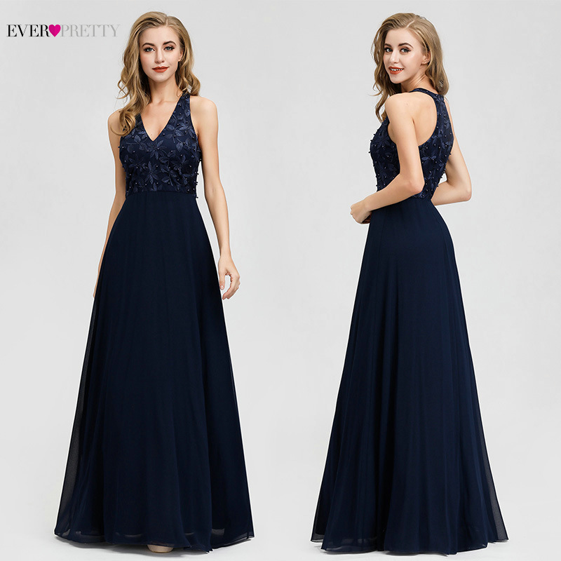 Ever Pretty Navy Blue Bridesmaid Dresses Long A-Line V-Neck Appliques Beading Wedding Party Gowns Lace Vestido De Festa Longo