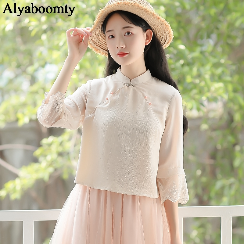 Japanese Mori Girl Summer Women Blouse Stand Collar Buttons Classical Shirt Elegant Sweet Korean Chic Chiffon Blusas With Lace
