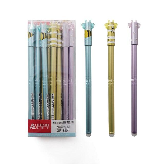Juego de recarga de pluma borrable lavable borrable Kawaii Animal pequeña abeja Magic Gel pluma Oficina suministro estudiante papelería bolígrafos para la escuela