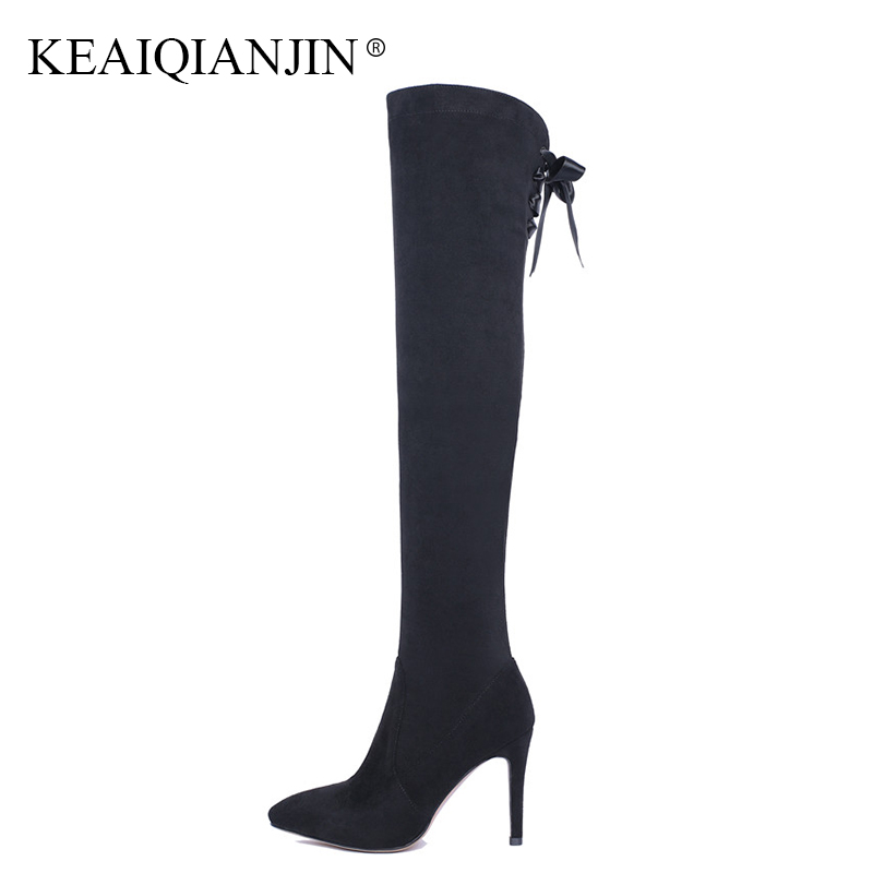 KEAIQIANJIN Woman Genuine Leather Over The Knee Boots Plus Size 34 - 43 44 Black Autumn Winter High Heel Boots Thigh High Boots plus size 34 43 autumn winter genuine leather women flower shoes lady high heel long boots embroidered over knee high snow boots