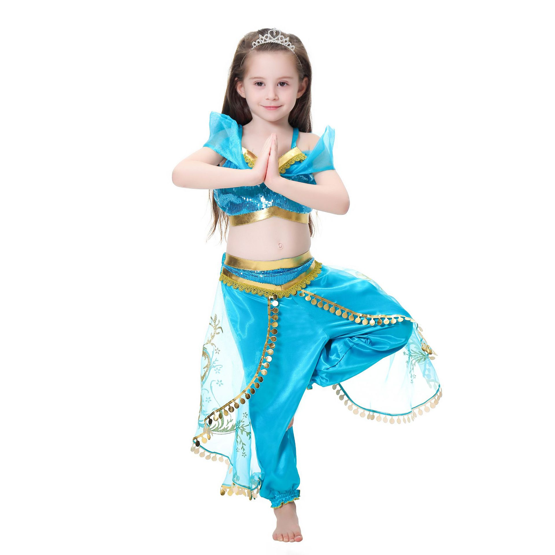 Kids Girls Carnival Clothing  Aladdin Jasmine Princess Cosplay Costume  Halloween Belly Dancer Top Pants Party Clothes