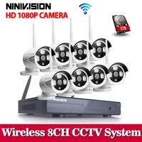 2MP CCTV Sistema kit NVR 1080 p 8ch HD Sem Fio 1 tb HDD IR Ao Ar Livre Câmera de Visão Noturna IP Wi fi sistema de segurança de Vigilância|system surveillance|nvr kit|cctv system -