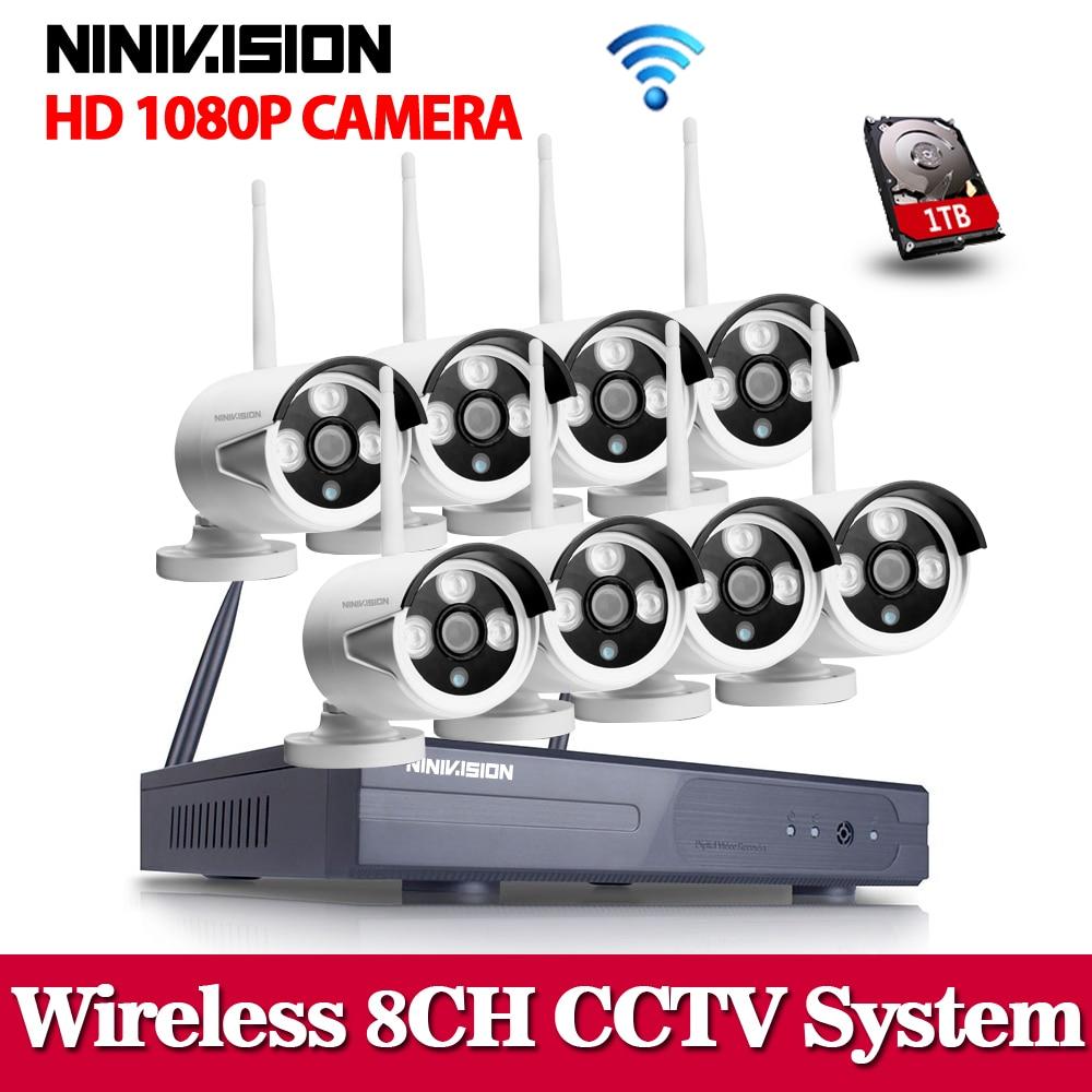 Sistema CCTV de 2MP 1080P 8ch HD Kit NVR inalámbrico 1TB HDD para exteriores IR visión nocturna IP Wifi Cámara sistema de vigilancia de seguridad Videoportero VANSOALL, timbre cableado de teléfono, sistema de videoportero, Monitor a Color de 7 pulgadas y cámara HD con liberador de puerta, botón táctil