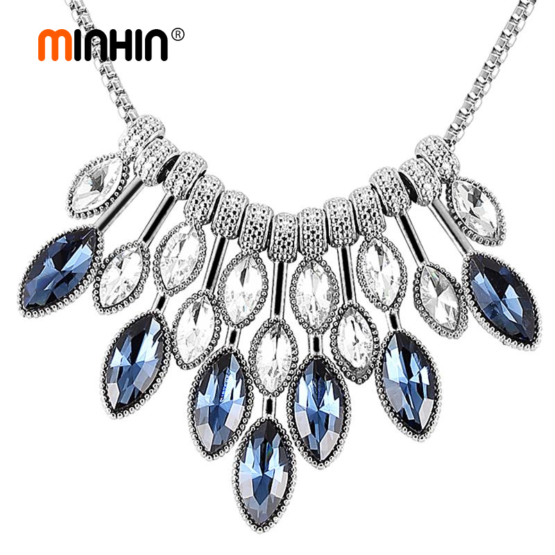 MINHIN 2018 New Statement Necklaces For Women Luxury Crystal Chokers Ne