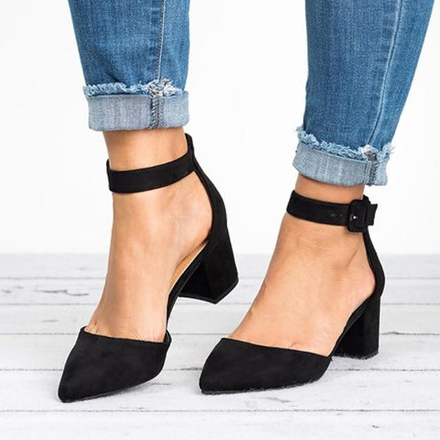 Women Ankle Strap Low Heels Sandals 3