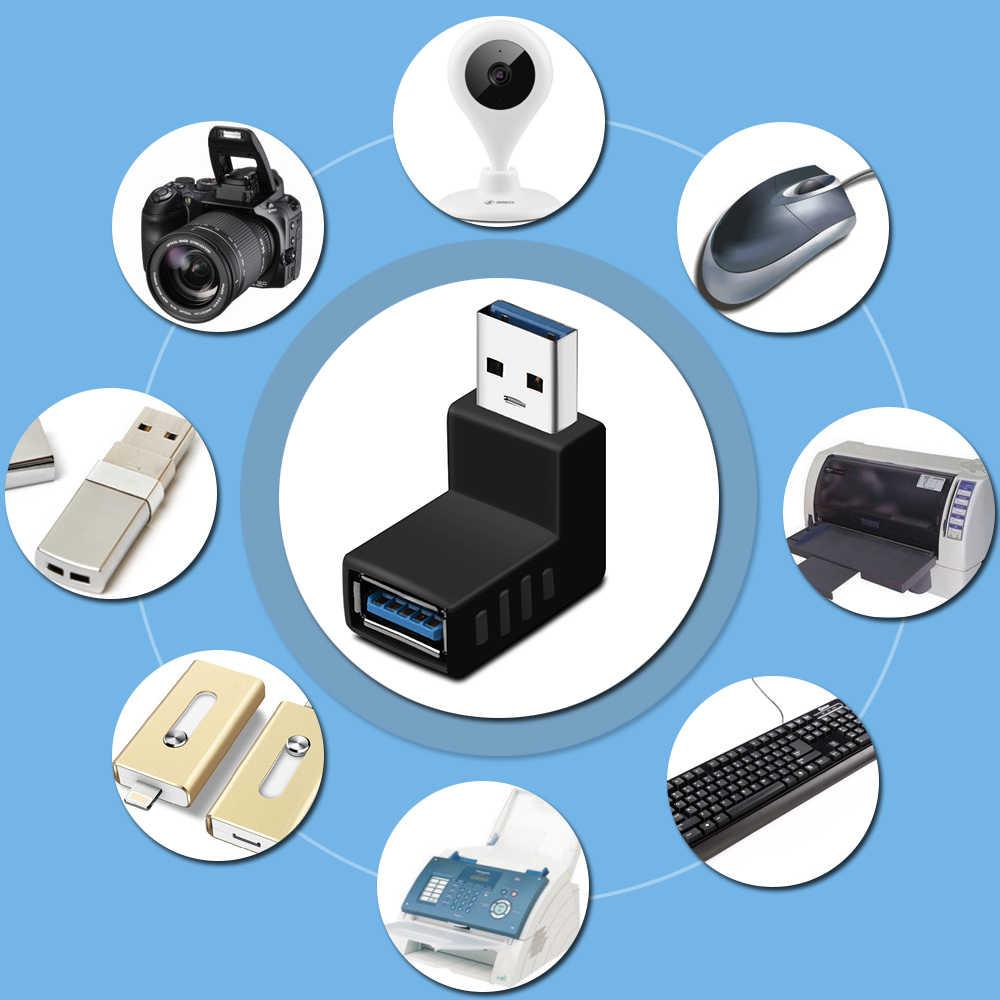 Новый 90 градусов USB 3,0 мужчина к женскому AM/AF левый и правый угловой адаптер разъем адаптера для ноутбука/ПК компьютера