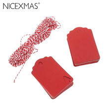 100pcs Red Christmas Tree Hanging Tag with 10M Hemp Rope Kraft Paper Decor Present Gift Labels New Year Decoration