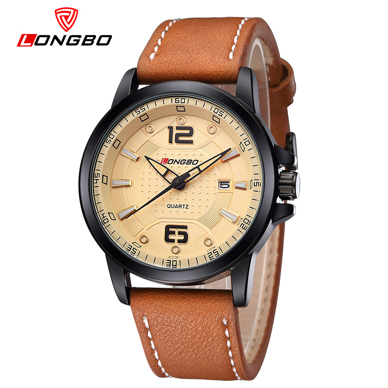 Fashion Brand LONGBO Watches men Casual Quartz reloj Leather wristwatch Army Military reloj hombre men's clock relogio masculino