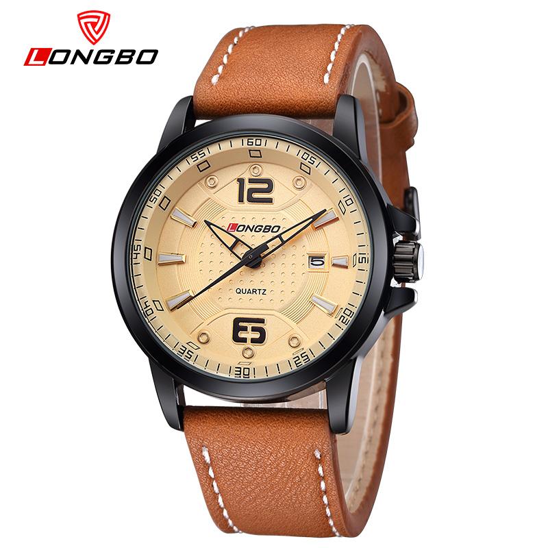Prix pour Mode Marque LONGBO Montres hommes Casual Quartz reloj montre-bracelet En Cuir Armée Militaire reloj hombre hommes horloge relogio masculino