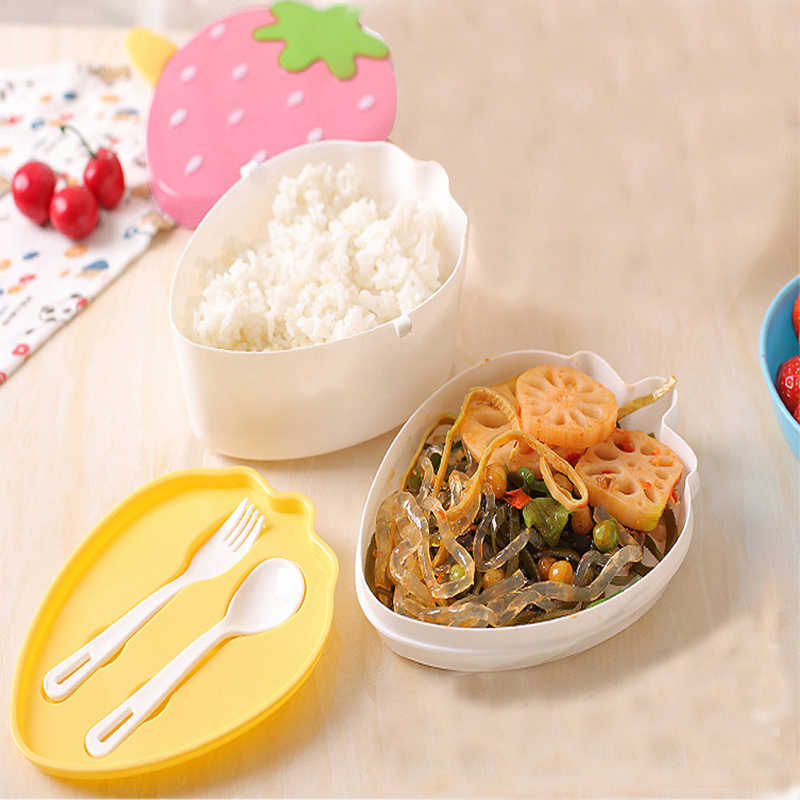 Kitchen Accessories Card With Lunch Box Wheat Straw Lunch Box Microwave Tableware Food Storage Kitchen Container Tool K20