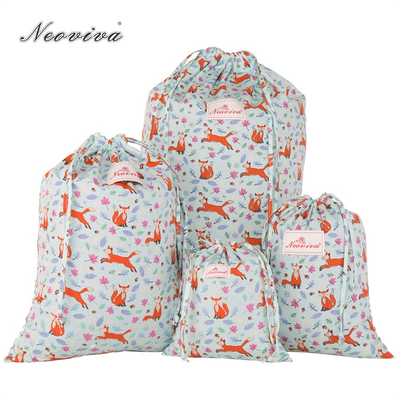 Neoviva Drawstring Laundry Bags for Daily Storage, Pack of 4 in Different Sizes, the Fox Forest Greenland Cute Print Laundry Bag