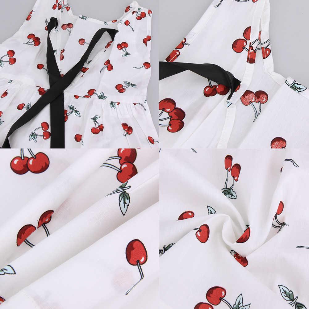2019 г. платье для маленьких девочек летние платья принцессы трапециевидной формы без рукавов с принтом вишни Детские хлопковые вечерние платья детская одежда для От 3 до 11 лет