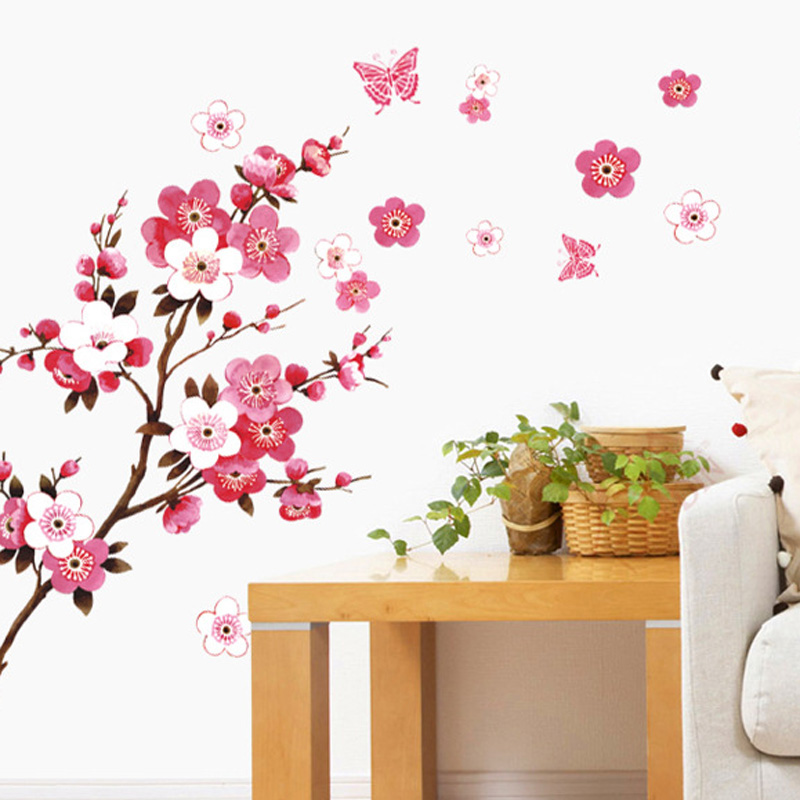 Cherry blossom wall stickers waterproof tv background for Cherry blossom wallpaper mural